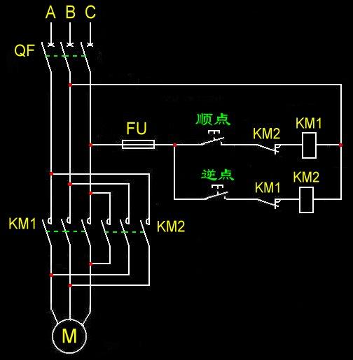 求三相异步电动机正反转电路图,两个按钮,两个接触器