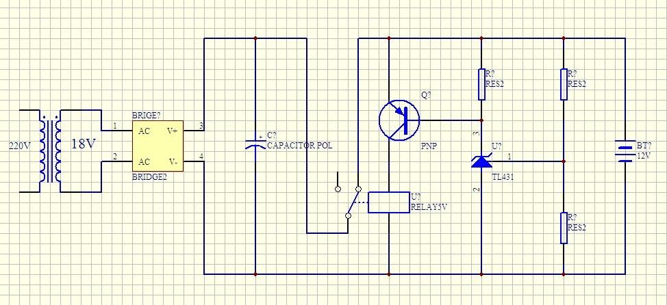 我想做一个12v电瓶充电器充满自停,请问这电路能否实现各阻值如何计算