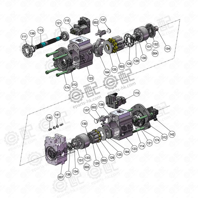 谁有k3v112dtp液压泵分解图,也就是神钢200-8液压泵的图片