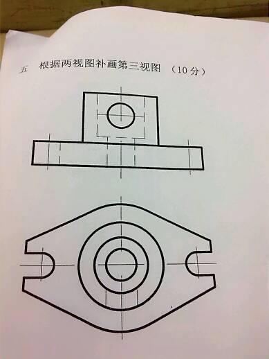 【机械制图】根据两视图补画第三视图.手绘,电脑制图都可以.图片
