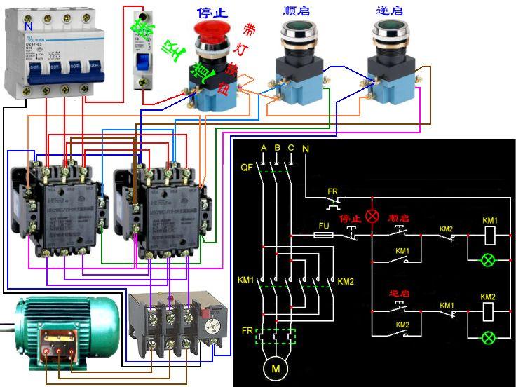 三相电机正反转,要求接触器互锁,带指示灯的接线图