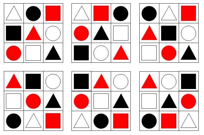 现有红,白,黑三种颜色的正方形,三角形和圆形的方块各图片