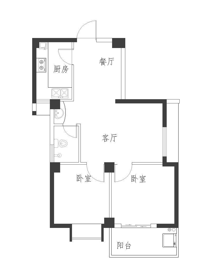右边是厨房和卫生间,左边是客厅,正对面是两个房间,要怎么装修?图片