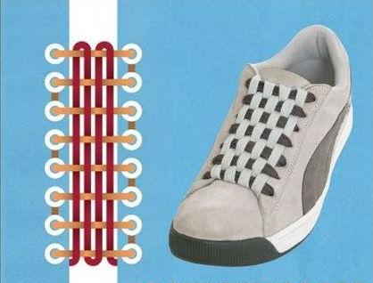 帆布鞋穿鞋带方法图片
