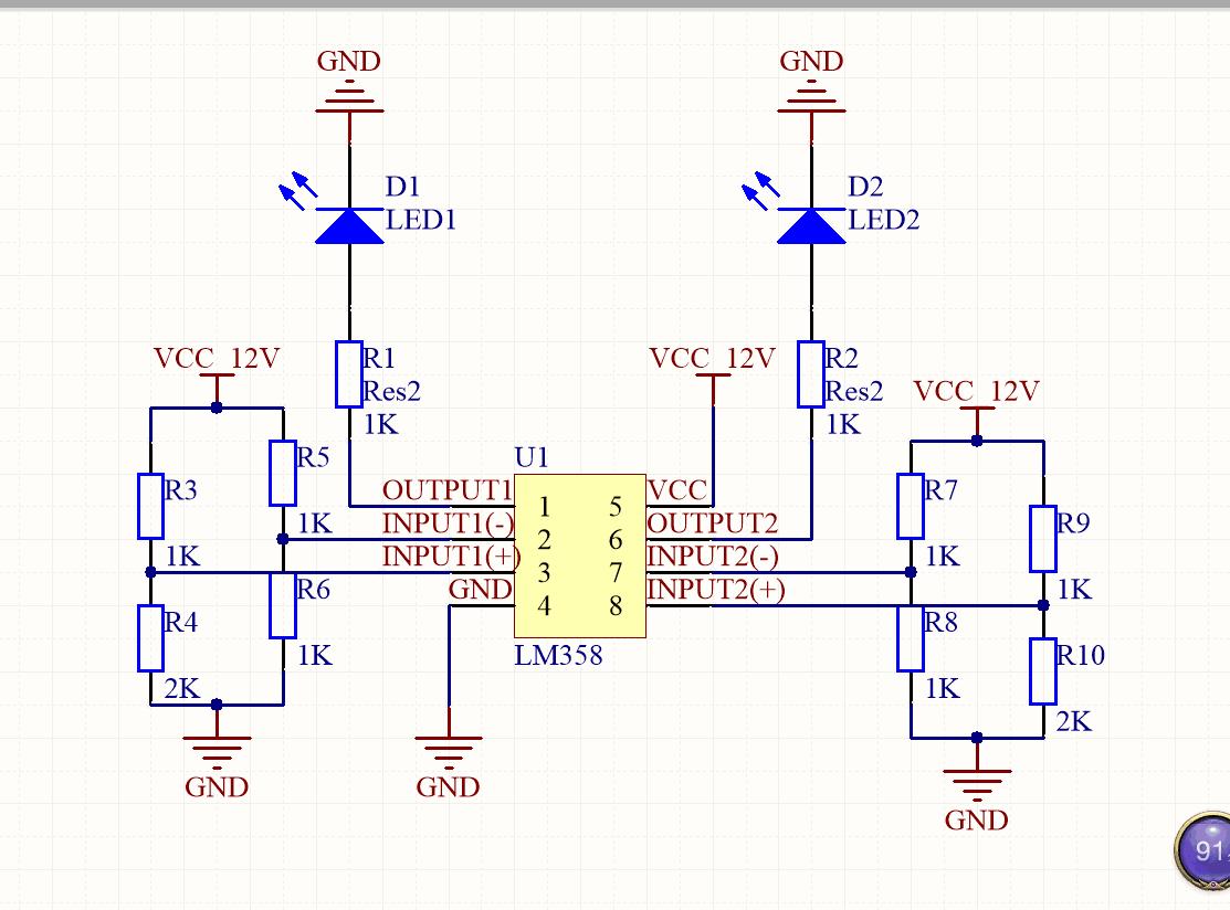 用lm358做电压比较器,大神们 帮忙看下,这个电路点灯是否可行?