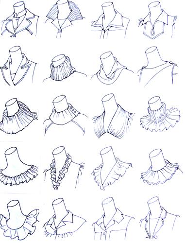 领子手绘款式图片