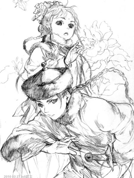 古风女生背影手绘线稿