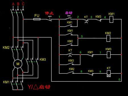 时间继电器自动控制星三角形降压启动电路接线图
