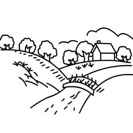 小桥流水人家简笔画
