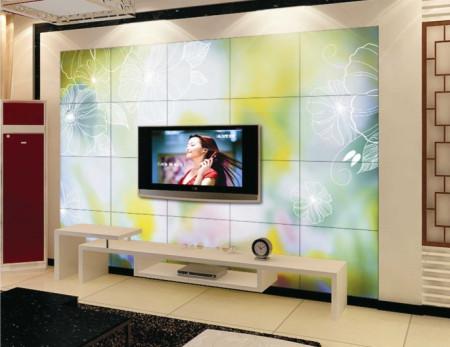 电视背景墙边框是黄色的,里面搭配什么颜色的墙纸或者