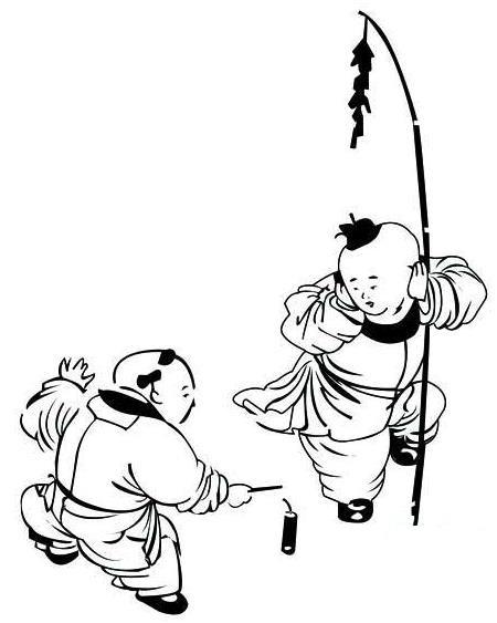 简笔画一个小孩在放鞭炮怎么画