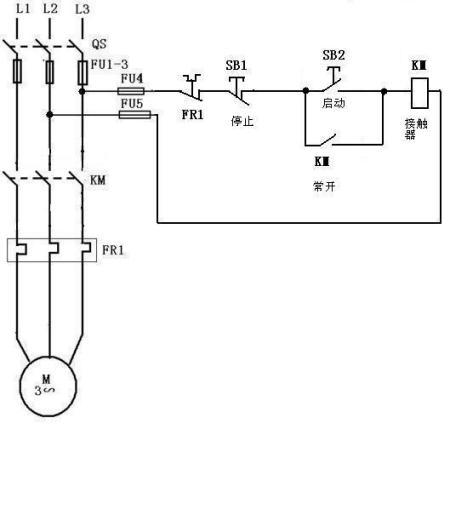 三相交流接触器自锁正转控制线路接线图