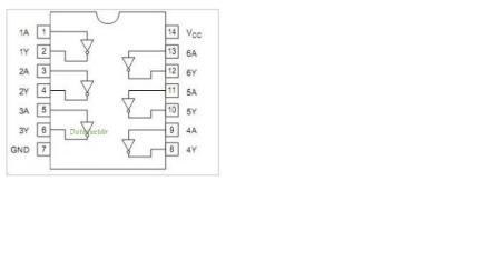 2位数码引脚图_hd74ls04p引脚图是什么样? 怎么与单片机和数码管相接