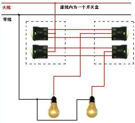 双开双控双灯怎么接线,求电路图.