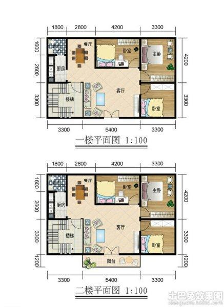 求农村二层半120平米房屋设计图.一楼四室两厅一卫,二