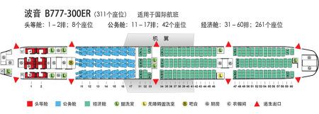 国航飞美国华盛顿是什么机型777-300er宽体客机座位图