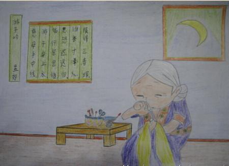 古诗《游子吟》,要求诗配画,儿童简笔画,谁有的话希望图片