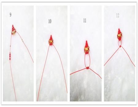 求转运珠串那种红色珠子成菱形戒指的编法?