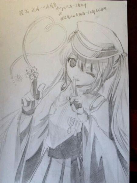 铅笔画的女生