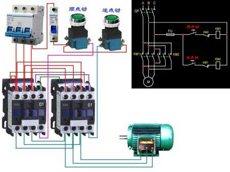 交流接触器cjx2—12电机正反转点动接线图