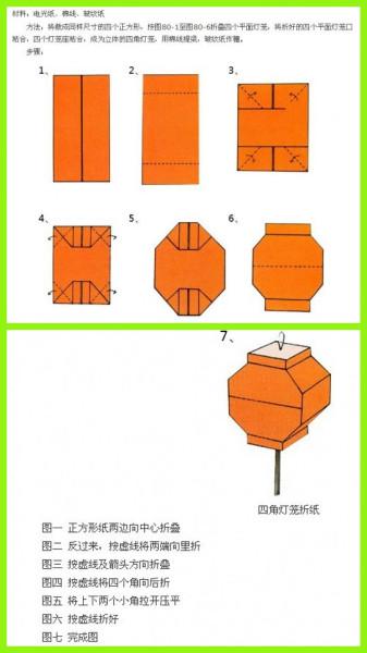 如何用手工折纸纸制作灯笼幼儿园