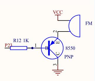 以pnp三极管的开关电路为例, 向左转| 向右转 上图中,fm是一个蜂鸣器