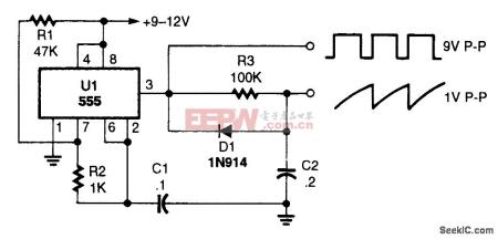 用555设计波形发生器怎么输出锯齿波