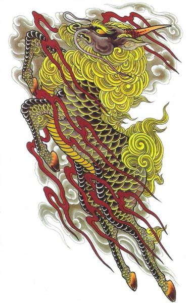 喜欢这种类型的麒麟纹身手稿吗?图片