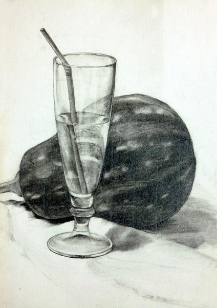 素描玻璃杯该怎么画,能把画好的给我看一下吗,谢谢.图片