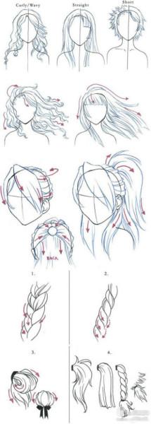 怎么画简单女生动漫人物头发?要图