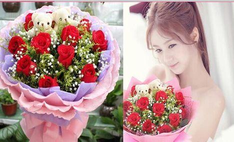 糯米网:长沙今日团购:77鲜花 仅售88元,价值168元77鲜花套餐11朵玫瑰+2只公仔高档花束!请提前24小时预约!