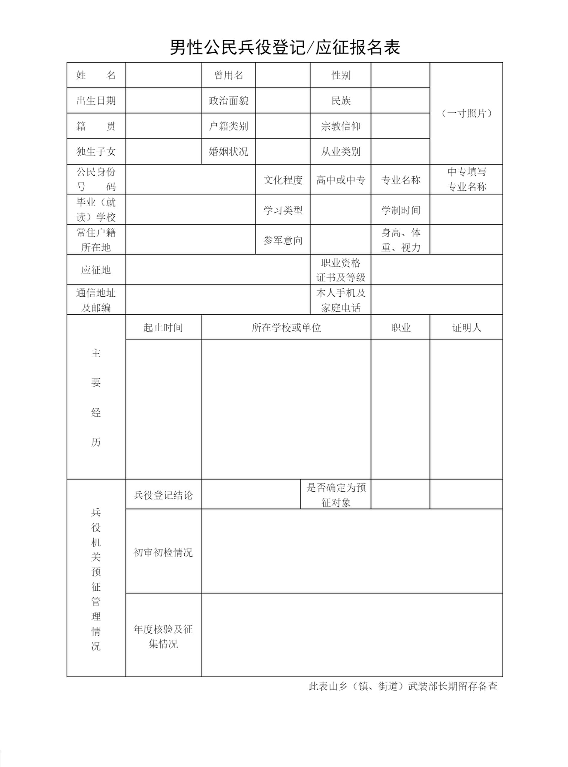 兵役登记_男性公民兵役登记/应征报名表