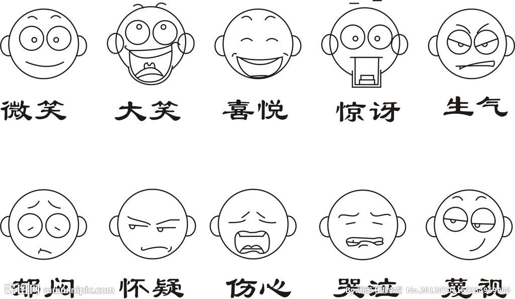 求一张图片,惊讶的表情,然后是只有五官,最好使用铅笔画出来,没有