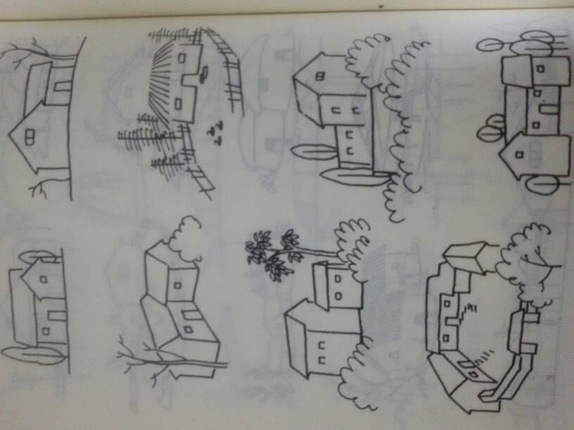 中学生简笔房子画大全