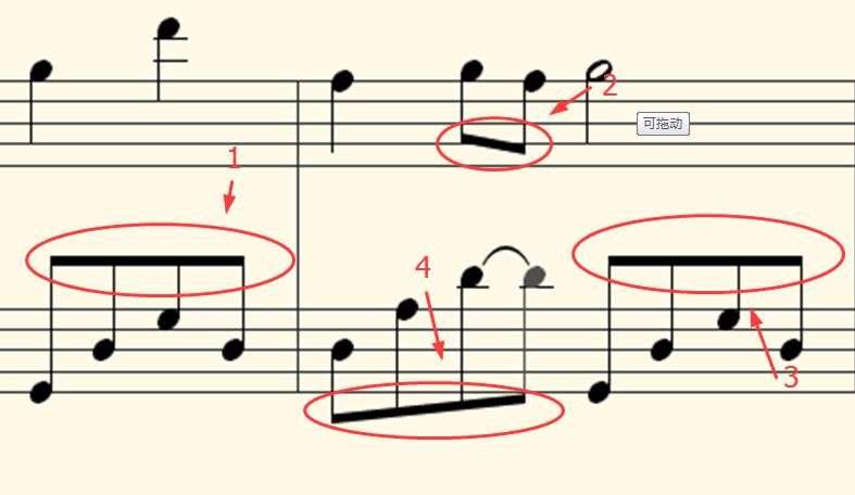 二拍子是什么意思_五线谱中几个音符的符杆用横线连起来是什么意思?_百度知道