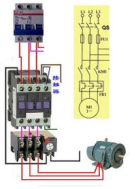 电视的连接方式电路图_请问:一个交流接触器,一个热继电器,一个空开开关,一个电机 ...