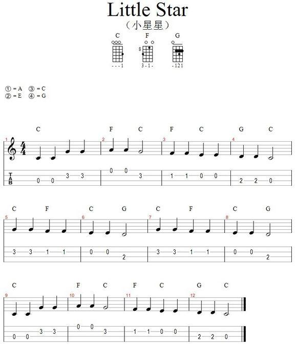 尤克里里新手入门曲谱_求.ukulele 新手入门谱子 小星星 铃儿响叮当 谱子
