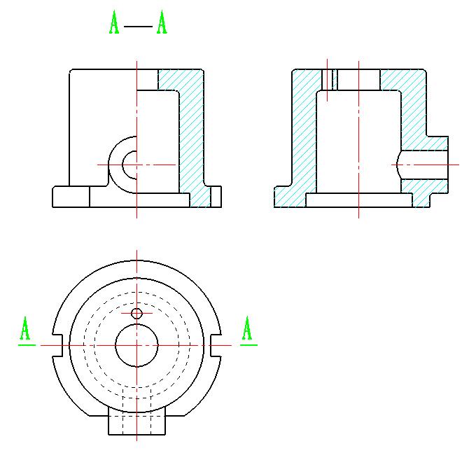 机械制图半剖视图_将主视图画出A-A半剖视图,左视图画成全剖视图_百度知道