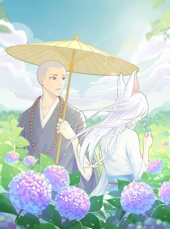 一个女人拿一把伞_一个和尚拿着一把伞旁边一个白头发的狐狸,动漫图片_百度知道
