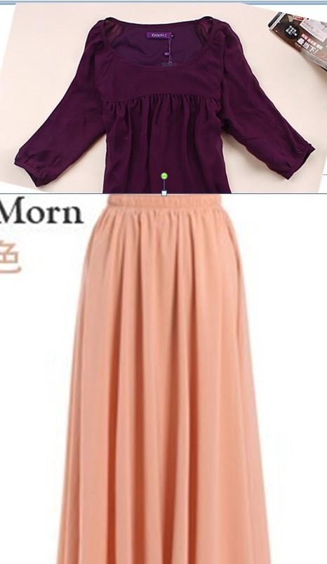 紫色雪纺衫搭配_深紫色雪纺衫搭配宝石蓝长裙好看么_百度知道
