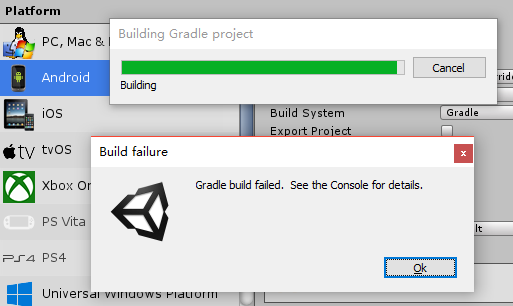 unity] 打包时报错gradle build failed see the console for details