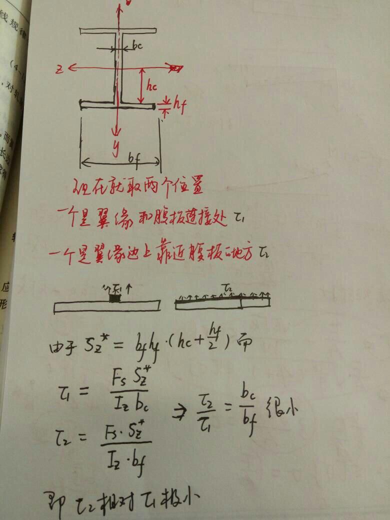 材料力学应力公式_材料力学问题:工字钢翼缘切应力分布,上下表面无切应力以及 ...
