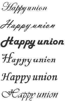 美体英文_请帮我将下列英文字体转换成好看点的美体字. happy union 谢谢!