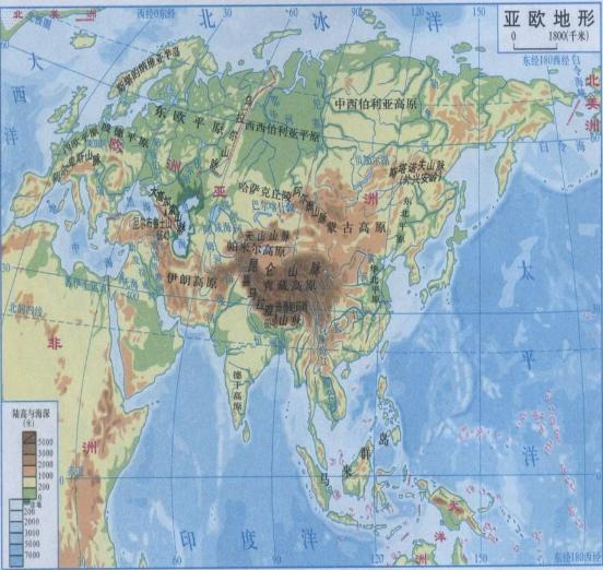 亚洲地形地图_亚洲及欧洲地形图_百度知道