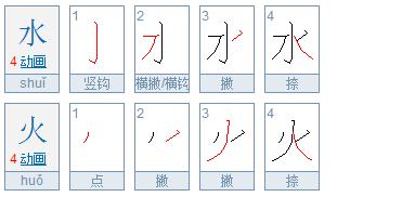 水字和火字的笔顺应该怎样写