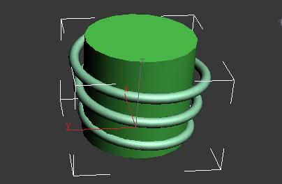 3DMAX怎么做绳线缠绕在圆柱体上图片