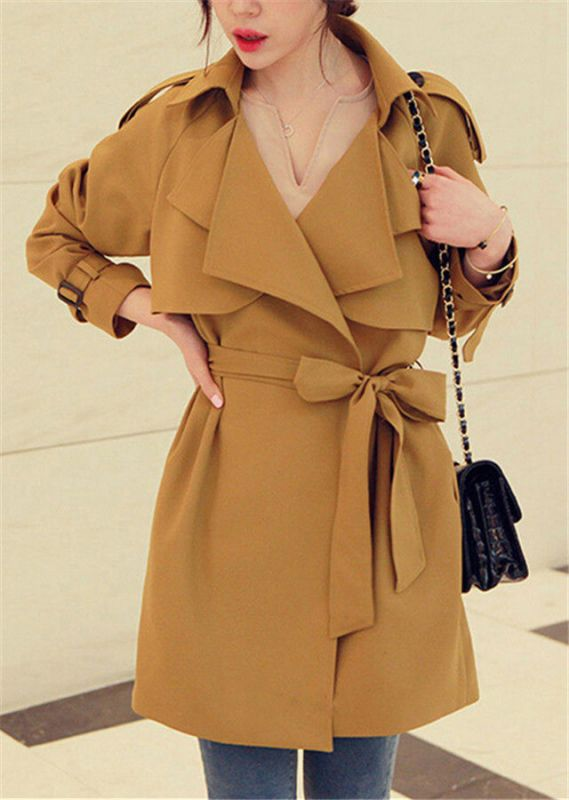 女士风衣背后腰带系法_法思迪萨女士风衣