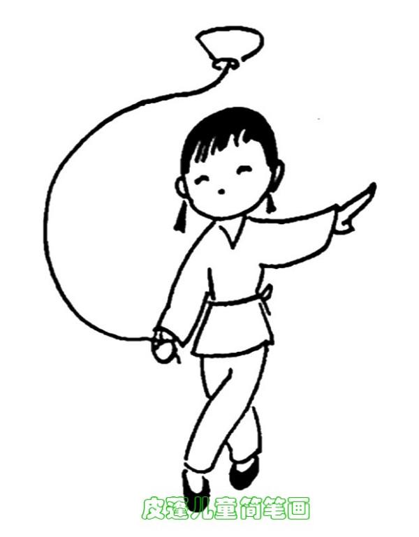 画小男孩双手托东西的简笔画