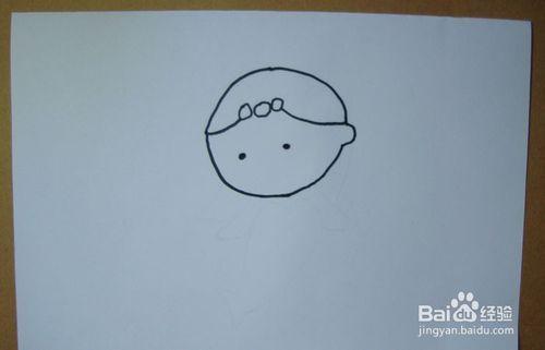 然后用黑色的水彩笔画出可爱的美人鱼的手臂部分,两只小手正在游泳,如下图所示.