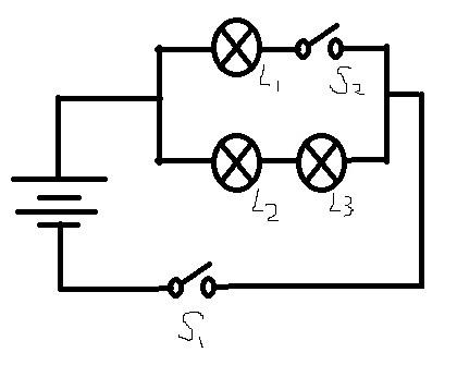 初中物理由实物图画电路图